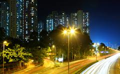 Residential district in hong kong at night Stock Photos