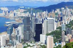hong kong commercial district - stock photo