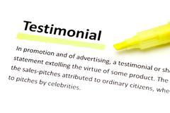 definition of testimonial - stock photo
