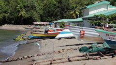 Fishing boats beach village Soufriere St Lucia HD 1573 Stock Footage