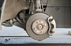 Brake disk and the wheel assembly Stock Photos