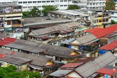 slum area in bangkok - stock photo