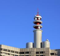 Broadcast tower on building Stock Photos
