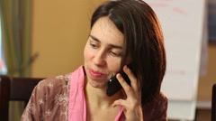 Divorced single woman smiling laughing, talks over phone, dating - stock footage