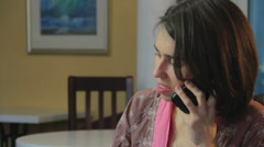 Phone talking woman in pink gown, divorced female seeking dating - stock footage
