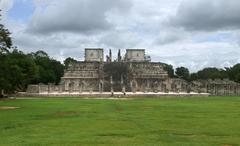 temple of the warriors in chichen itza - stock photo