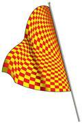 Yellow-red racing lippu. Piirros