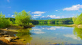 4K 4096x2304 Summer mountain lake landscape. Forstsee, Austria, time-lapse. 4k or 4k+ Resolution