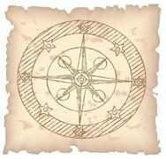 Old compass on paper background. Stock Illustration