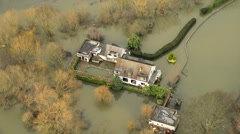 Property flooded Surrey, Southwest England Stock Footage