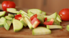 Sliced raw vegetables Stock Footage