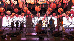 Hong Kong Chinese New Year red lanterns attract tourists China Asia Stock Footage