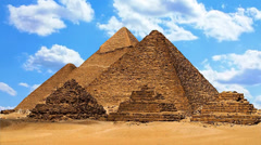 Pyramids of giza with time lapse clouds Stock Footage