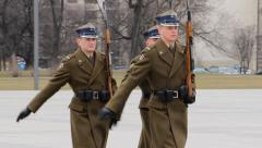 Warsaw, Poland. The changing of the guard at The Tomb of the Unknown Soldier Stock Footage
