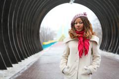 Beautiful african girl in lilac beret Stock Photos