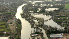 Properties damage by flood, England Stock Footage