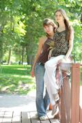 two beautiful girls in city-park - stock photo
