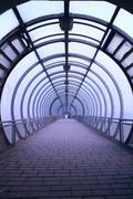 futuristic glass tunnel - stock photo