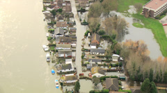 Flooding environmental disaster, Thames Valley, UK - stock footage