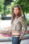 Stock Photo of girl in silvery jacket
