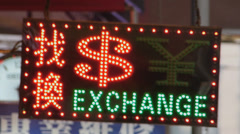 Hong Kong Money Exchange Neon signs light China Asia Stock Footage