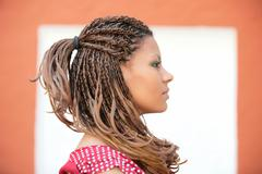 Profile portrait of the beautiful african russian girl Stock Photos