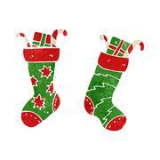 Stock Illustration of retro cartoon christmas stocking