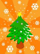 cartoon christmas tree on orange background - stock illustration