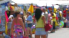 Tourists at the souvenir shops. Stock Footage