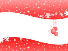 red christmas bell on snow background with white space - stock illustration