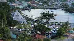 St Lucia cruise harbor marina Castries urban HD 1535 Stock Footage