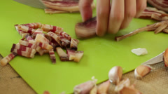 Pancetta bacon slicing Stock Footage