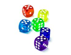 Color dice number five Stock Photos