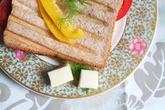 Meal, Toast on Plate - stock photo