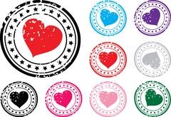 Stamp with the image of heart. Stock Illustration