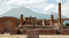 Timelapse of the ruins of Pompei with volcano Vesuvius at back, Italy Stock Footage