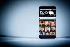 Stock Photo of smart phone with a transparent display.