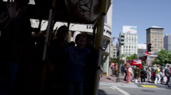 Tram, traffic and tourist in Union Square Stock Footage