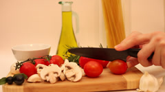Chopping tomatoes, healthy lifestyle, cooking, Italian cuisine,fresh vegetables Stock Footage