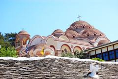the monastery of archangel michael with a part of holy nail from the crucifix - stock photo