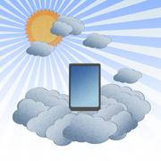 Recycle paper ,cloud computing concept with tablet in the clouds. Stock Illustration