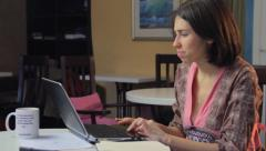 Woman in gown browses internet for relationships meetings dating, click for HD - stock footage