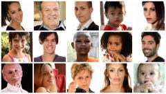 Collage of people of different racial and ethnic backgrounds Stock Footage