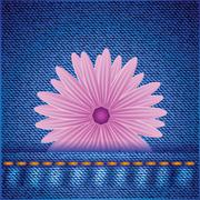 Stock Illustration of flower on jeans background