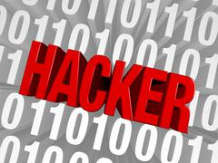 Hacker springs from the computer code Stock Illustration