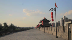 Xi'an city wall, Shaanxi, China Stock Footage