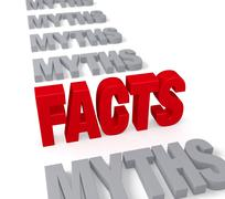 facts stand up to myths - stock illustration
