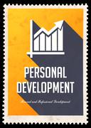 Personal Development on Yellow in Flat Design. - stock illustration