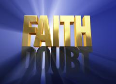 faith vanquishes doubt - stock illustration