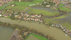 Environmental damage by flooding, Surrey, UK Stock Footage